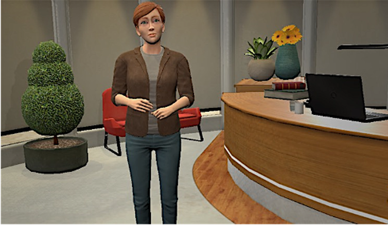 A 3D image of virtual coach, Nic, used for VR mental health therapy.