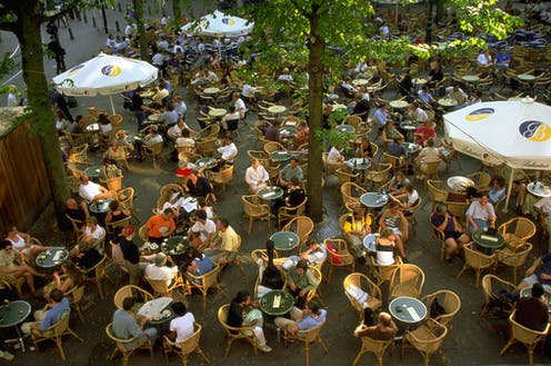 A crowded outdoor café