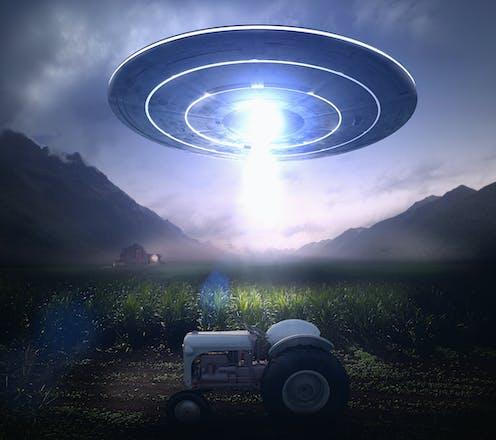 A flying saucer over a farm