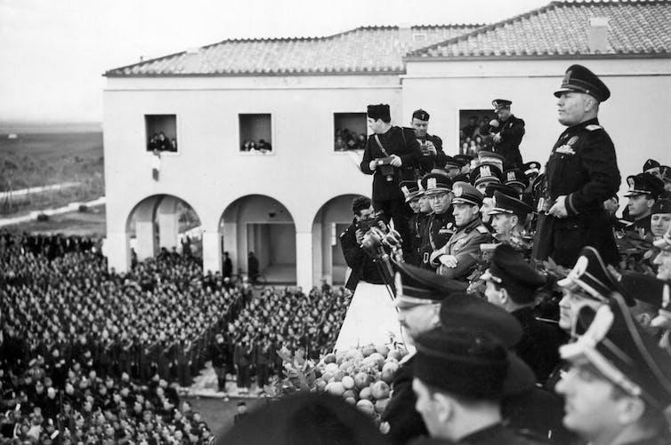 Benito Mussolini in Agro Pontino, Italy.
