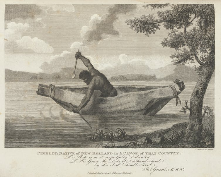 Etching of a muscular man in a boat.