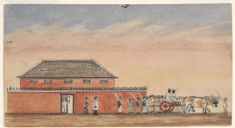 Bullock team and cart with two prisoners, prison guards and a crowd outside the gaol