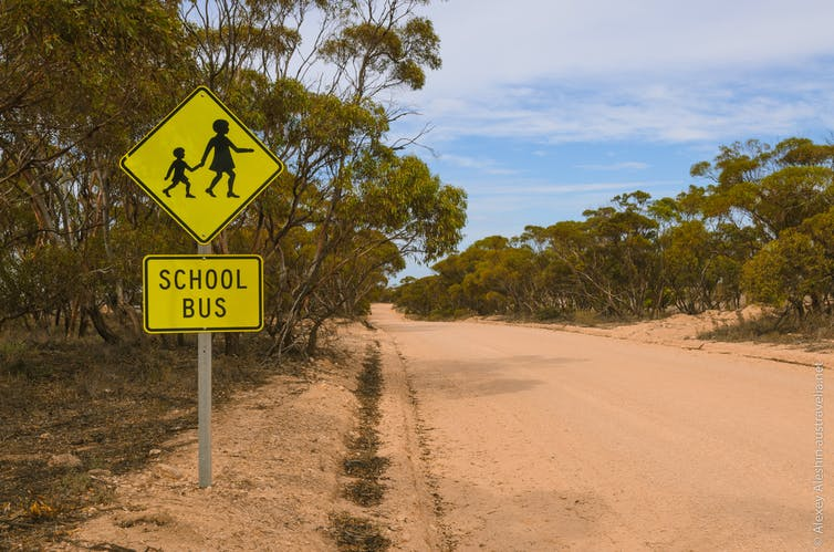 A school bus sign on a rural road.