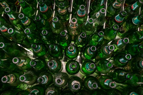 Bottles on a floor.