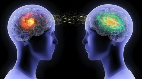 Illustration of the communication between two humans / two brains in form of telepathy, speech, conflict or understanding