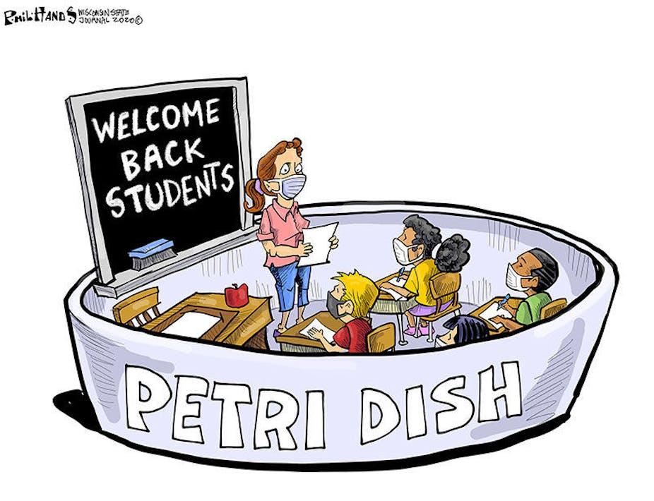 Cartoon of a classroom as a petri dish