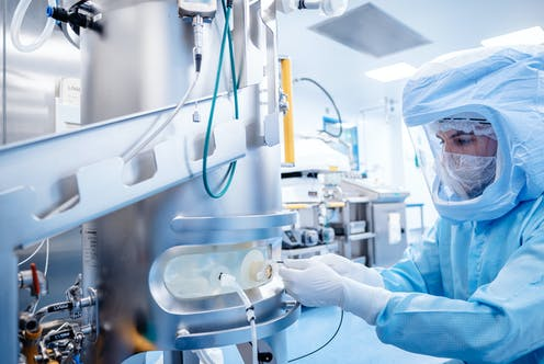 A technician at work in BioNTech's lab in Marburg, Germany