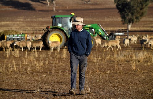 A farmer in a parched field during Australia's latest drought