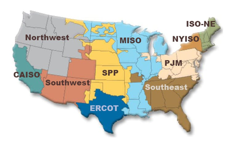 Map of U.S. regional power markets.