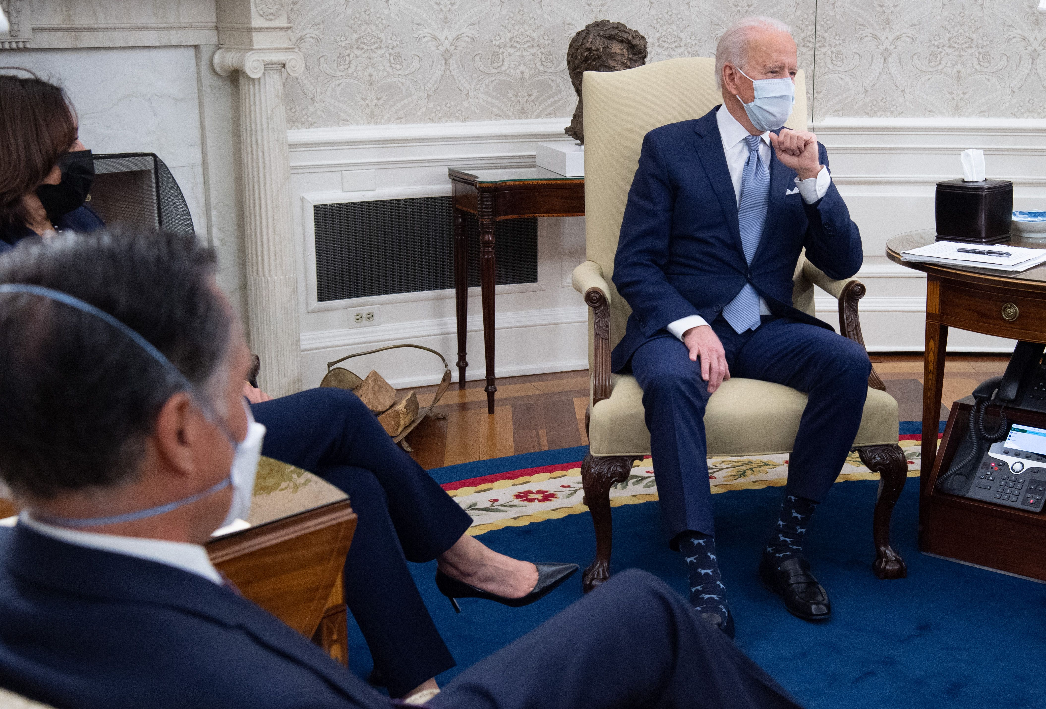 Mitt Romney meeting with Kamala Harris and Joe Biden in the Oval Office.