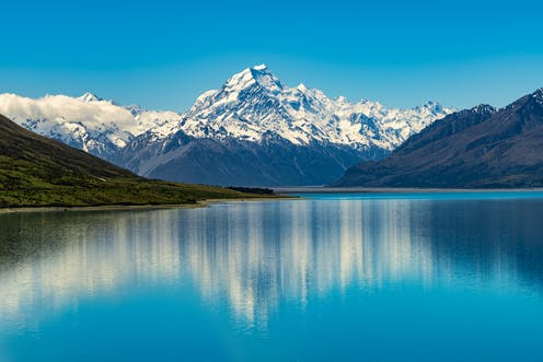 Aoraki/Mt Cook with Lake Pukaki in foreground