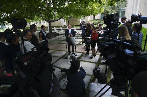 Josh Frydenberg at a press conference.