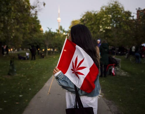 A woman carrying a flag with a cannabis leaf instead of a maple leaf