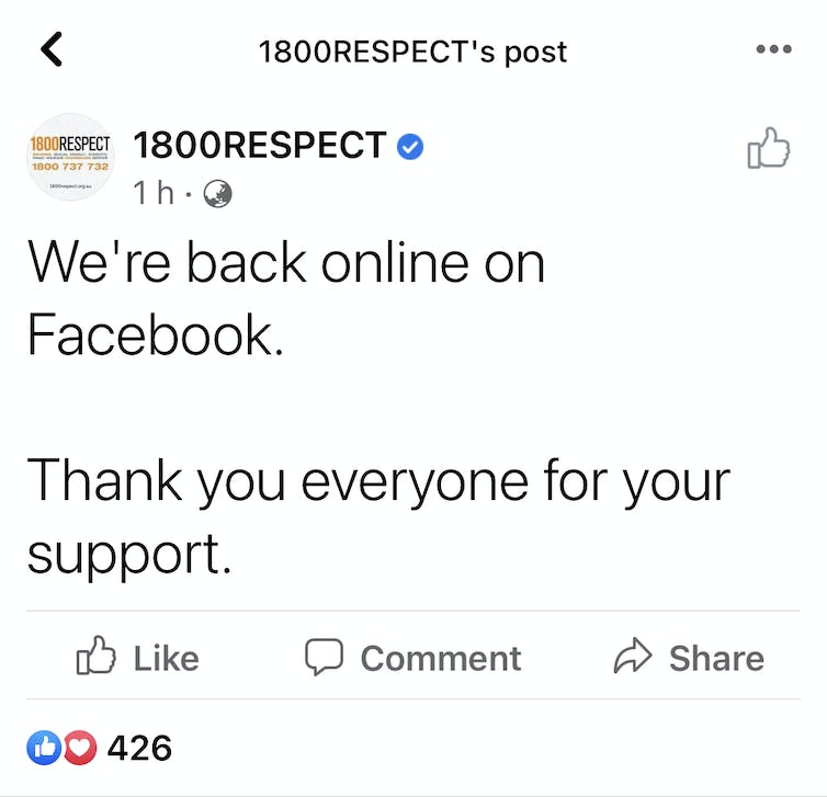 Screenshot of 1800Respect Facebook post
