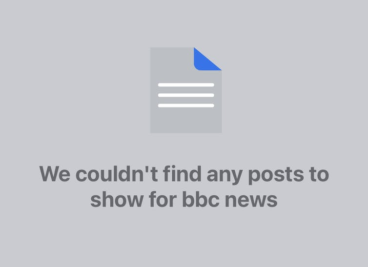 Screengrab of blocked BBC Facebook search results
