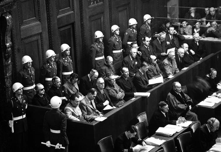 Former high-ranking Nazi officials in the dock at the Nuremberg War Crimes Trials, 1946.