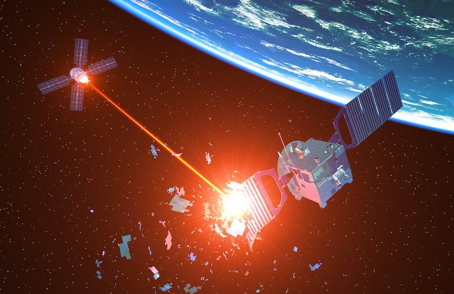 Destruction d'un satellite par un vaisseau spatial militaire, 3D.