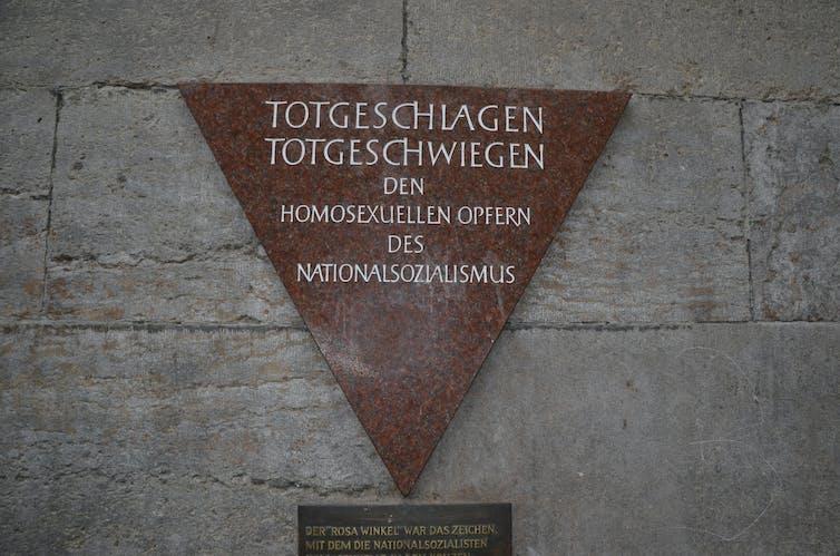 Memorial plaque for homosexuals murdered by the Nazi regime in Berlin, Germany