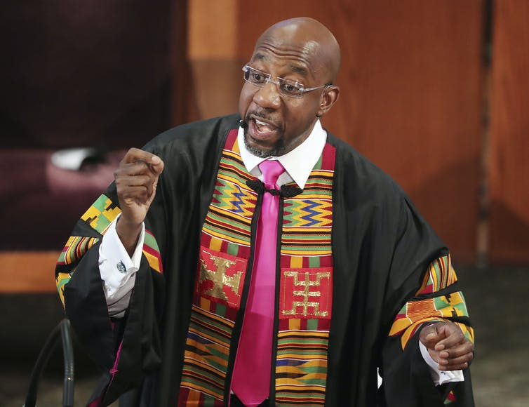 Rev. Raphael Warnock preaches at Ebenezer Baptist Church in Atlanta