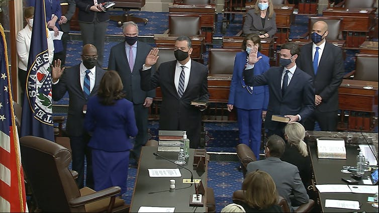 Raphael Warnock is sworn in as a U.S. senator