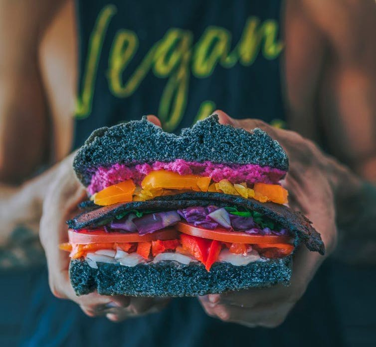 Person wearing vegan t-shirt holding out vegan sandwich