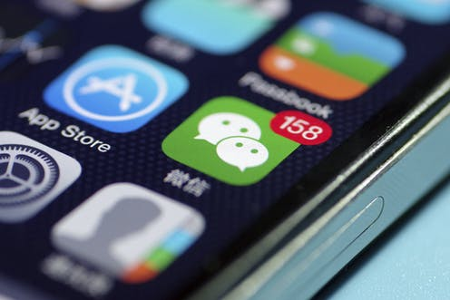 Photo of a phone screen showing the WeChat icon.