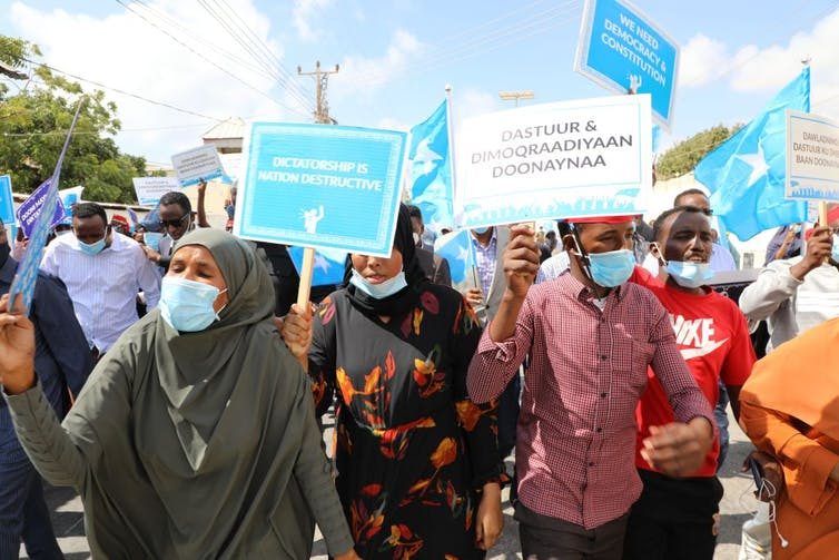 Supporters of different Somali opposition presidential candidates protest over delayed elections in Mogadishu on February 19, 2021. Credit: AFP via Getty Images.