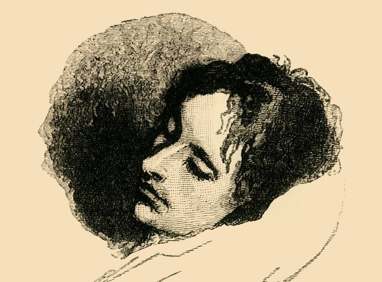 A drawing of John Keats with his eyes closed.