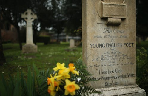 The stone reads that it marks the grave of a 'Young English Poet'