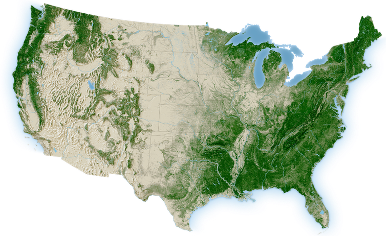 Map showing forested areas of the continental U.S.