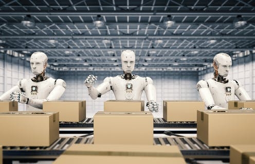 3D illustration of three robots packing boxes on an assembly line