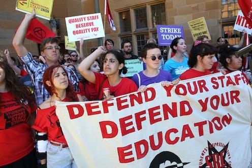 university staff protest at the University of Sydney