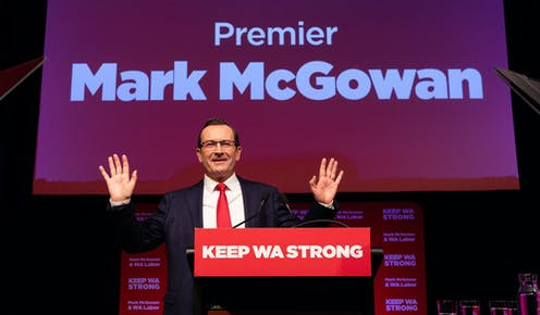 WA Premier Mark McGowan at his greets crowd at his election campaign launch