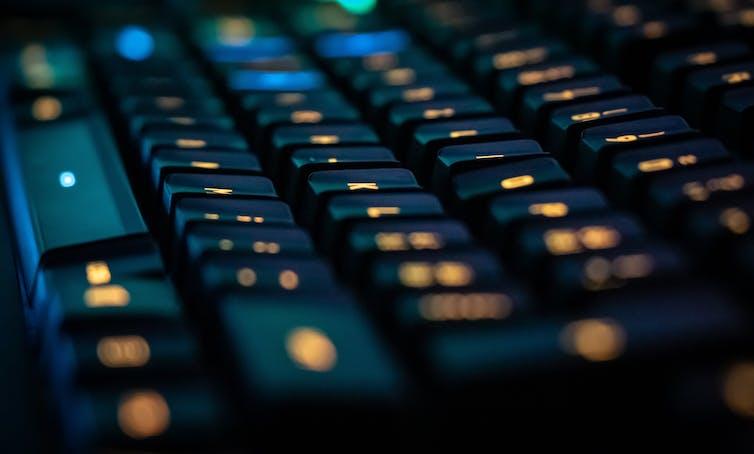 black keyboard with glowing keys