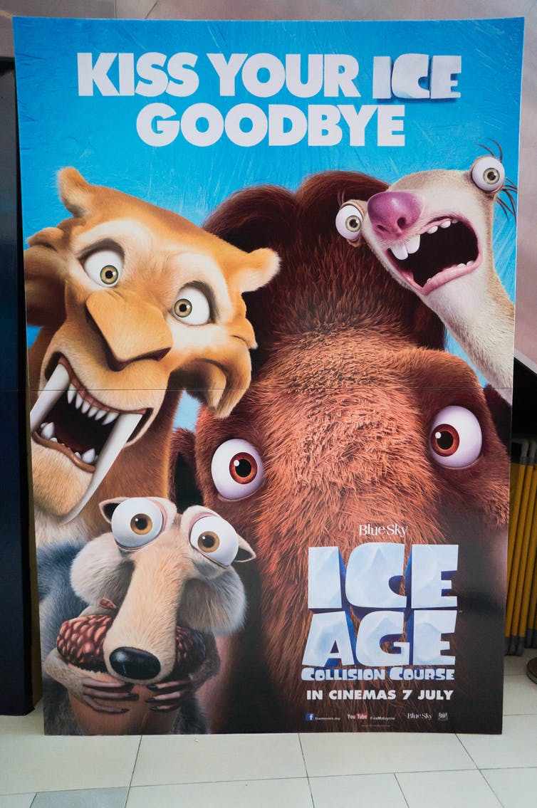 Movie poster for animated movie Ice Age Collision Course with caption