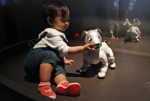 a toddler touches the chin of a robot dog