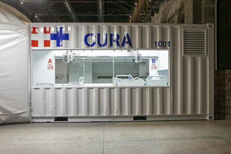 A shipping container adapted for use as an intensive care unit