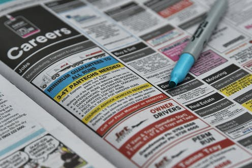 The careers listing in a newspaper