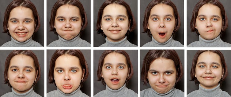 Girl makes different faces