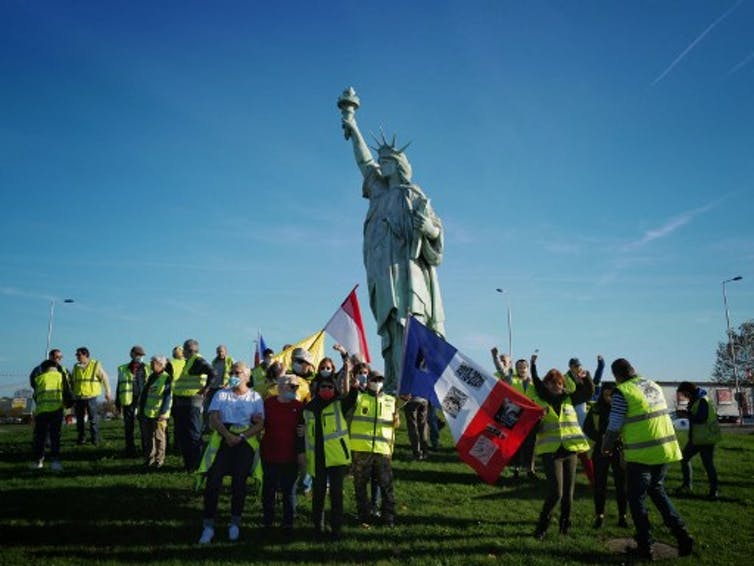 Des «gilets jaunes» manifestent à Colmar, le 14novembre 2020