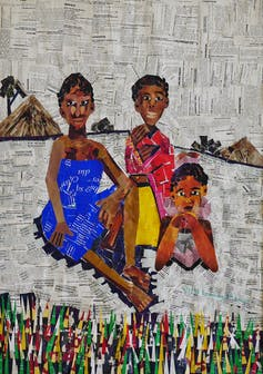 Illustration of three women sitting against a rural backdrop, constructed from torn words and colours from magazines, all brightly dressed.