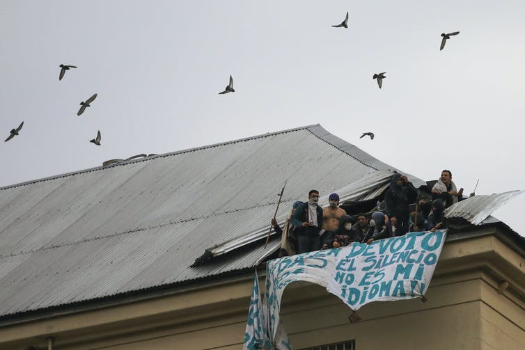 Prisoners riot on the roof of a prison as bird fly overhead.