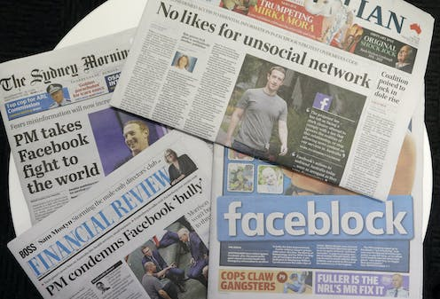Australian newspaper headlines discuss the Facebook dispute