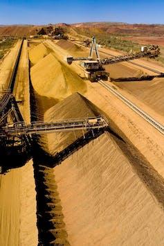 Iron ore piles at a Rio Tinto mine in the Pilbara.