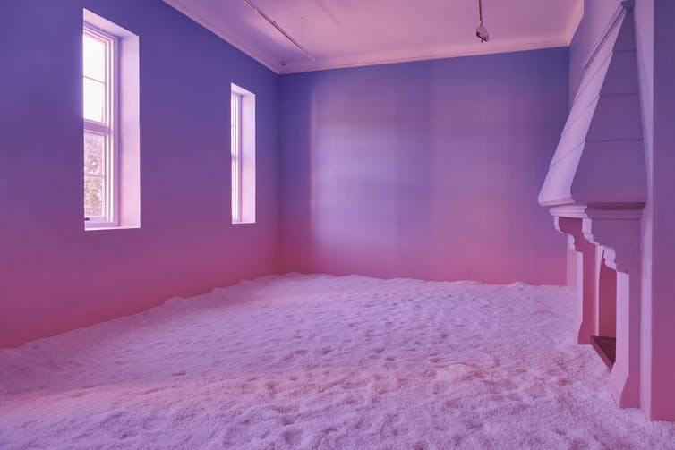 A room washed in pink.