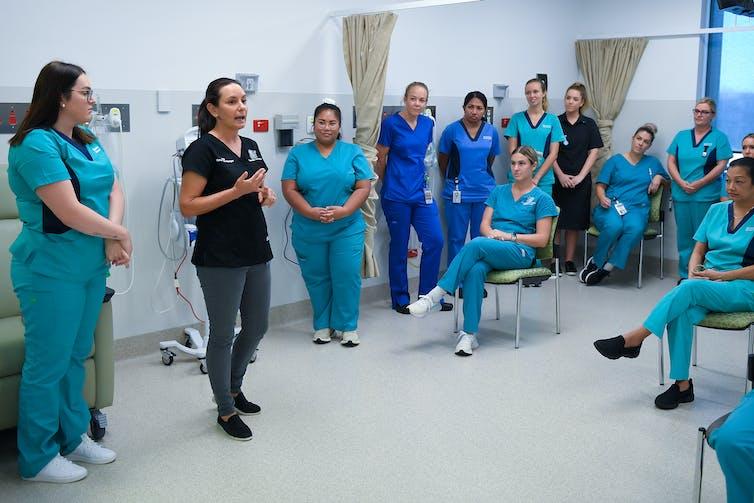 Group of nurses having a meeting