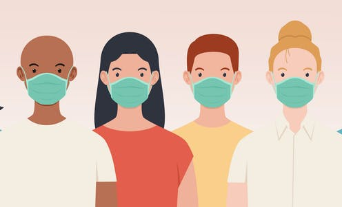 An illustration of lots of different people wearing face masks