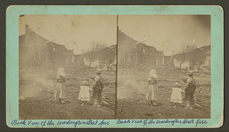 The Goodridge Brothers, Backview of the Washington Street fire,