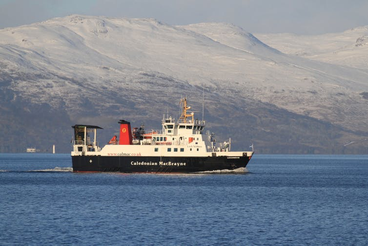 A Scottish Caledonian-MacBrayne ferry on its way from Skye to Mallaig.