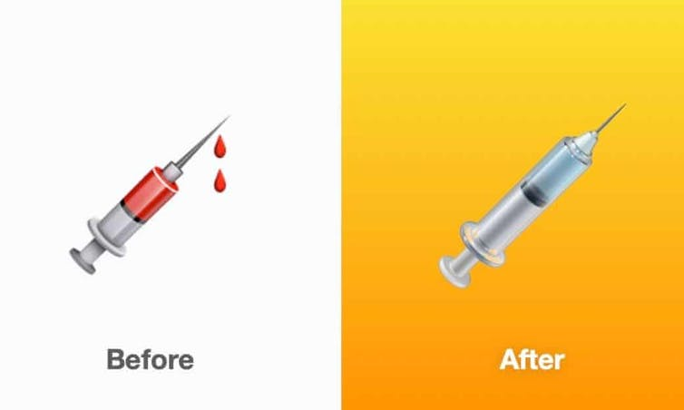 Two emojis of a syringe - one dripping with blood, one with clear liquid